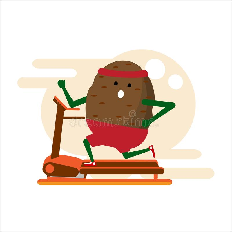 Vegetable athlete. Thick potatoes running on a treadmill, doing exercise on the simulator. Flat style. Vector. Vegetable athlete. Thick potatoes running on a vector illustration