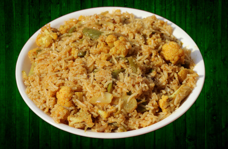 Vegetable biryani or Pulav. Delicious Indian vegetable biryani or Pulav made up of basmati rice and seasonal vegetables royalty free stock photo