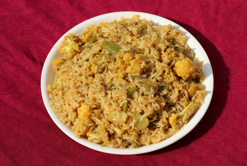 Vegetable biryani or Pulav. Delicious Indian vegetable biryani or Pulav made up of basmati rice and seasonal vegetables royalty free stock images