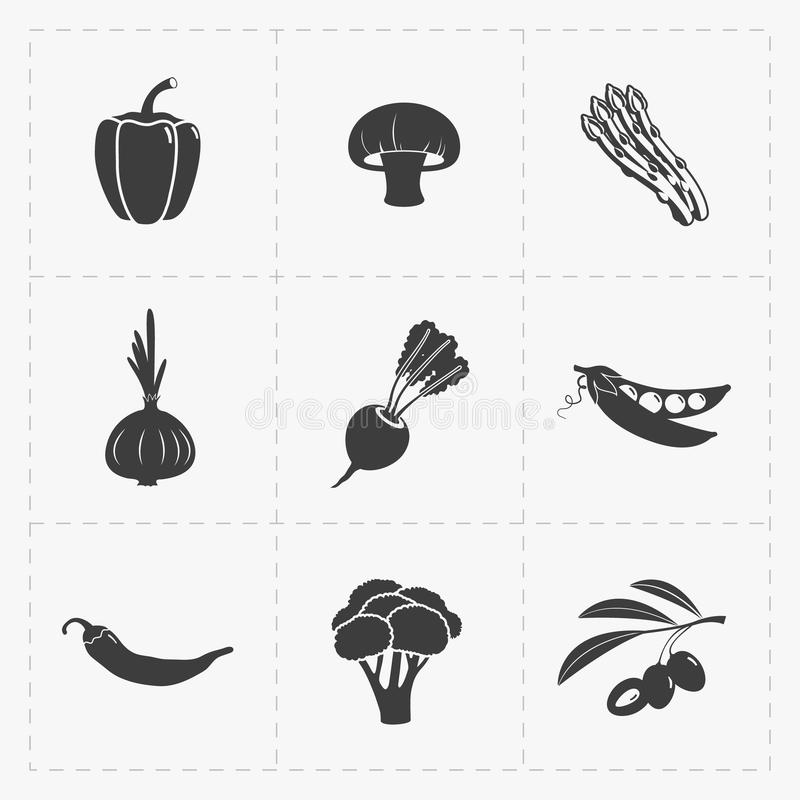 Vegetable Black Icon set on White. This is a vector illustration of Vegetable Black Icon set on White stock illustration