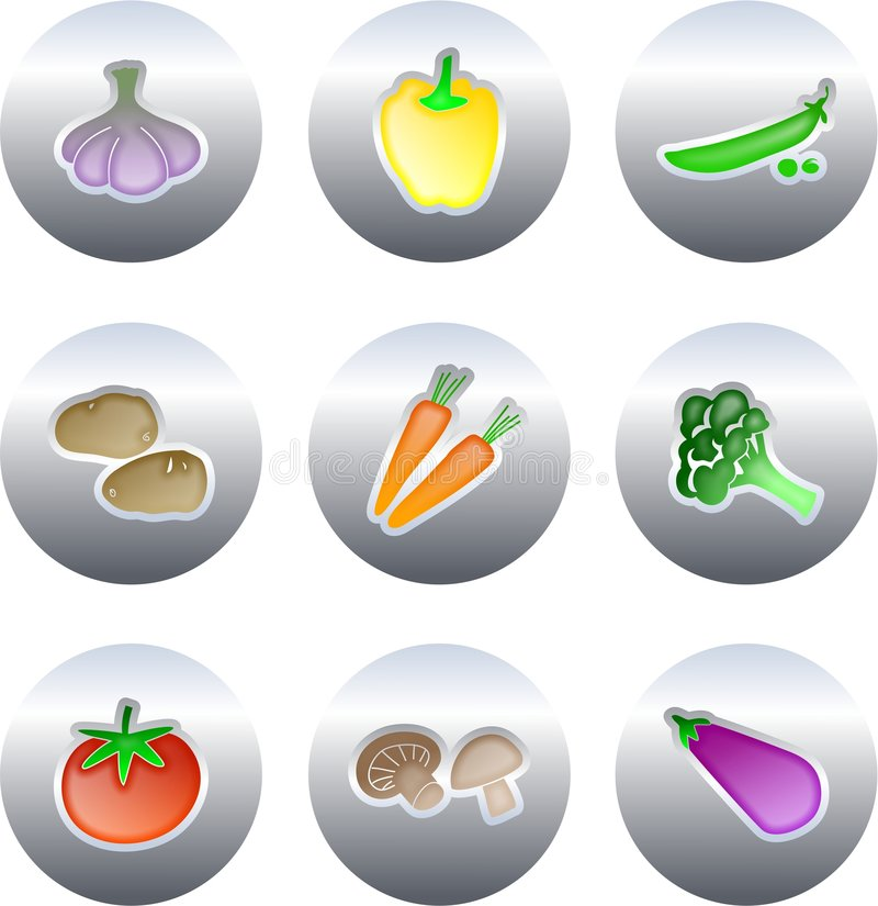 Vegetable buttons vector illustration