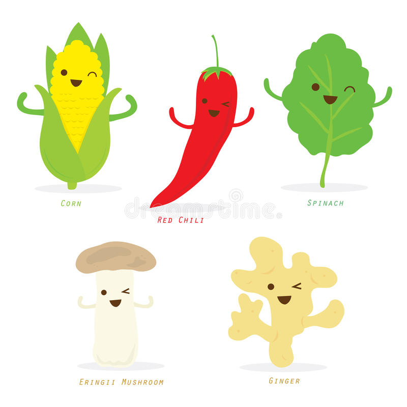 Vegetable Cartoon Cute Set Red Chili Corn Spinach Ginger Eringii Mushroom Vector royalty free illustration