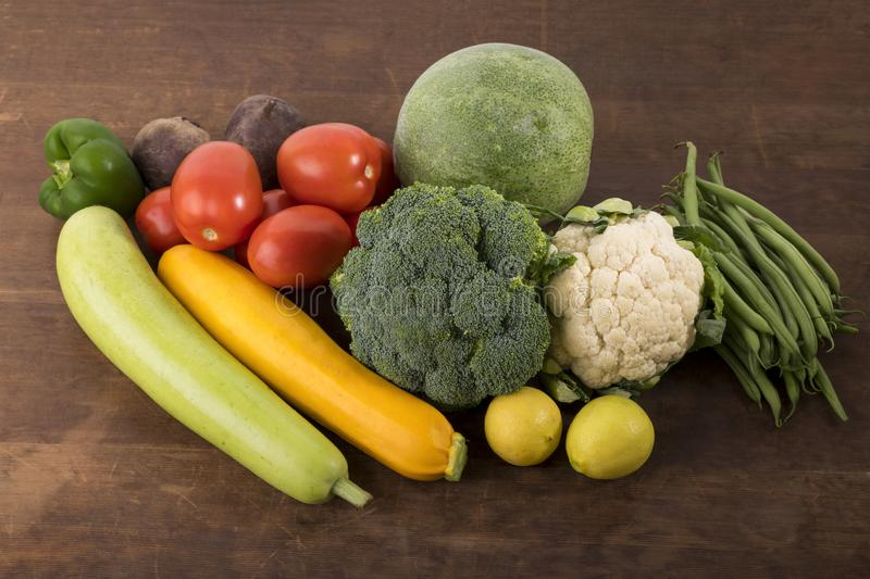 Vegetable: Close up of Yellow Zucchini, Bottle Gourd, Winter Melon, Lemon Cauliflower ,French Beans, Tomatoes, Beet Root And Gree. High resolution image of stock photo