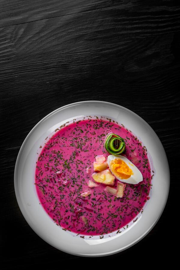 Vegetable cold soup with beet, cucumber, radsih and egg stock images