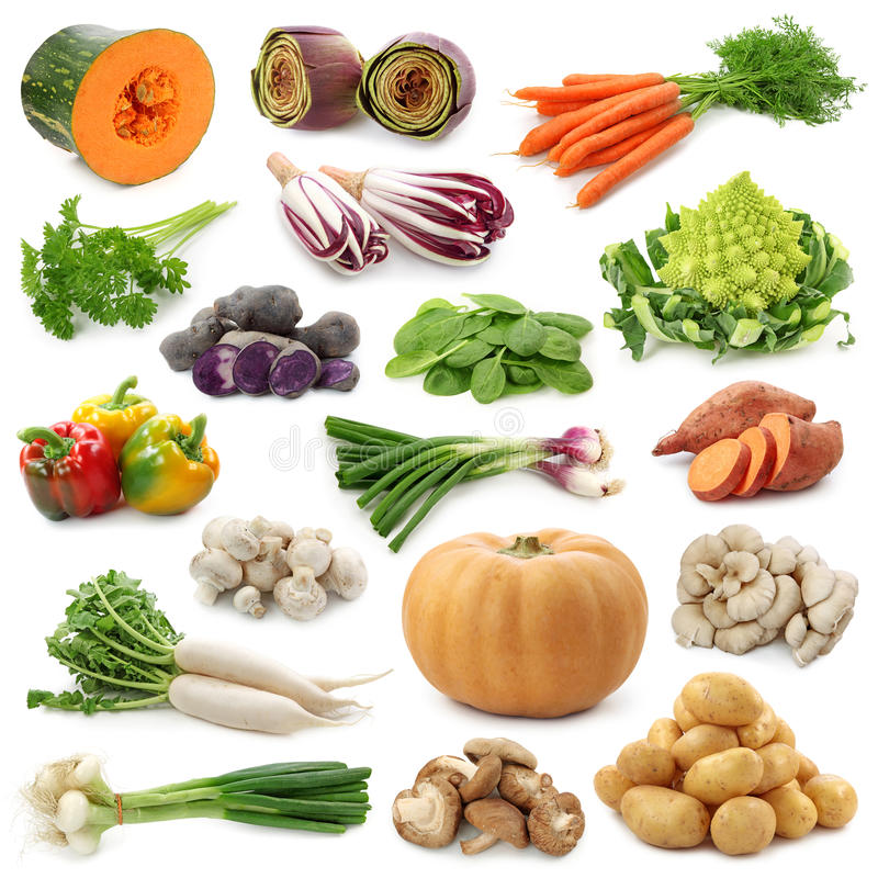 Vegetable collection. Isolated on a white background stock photography