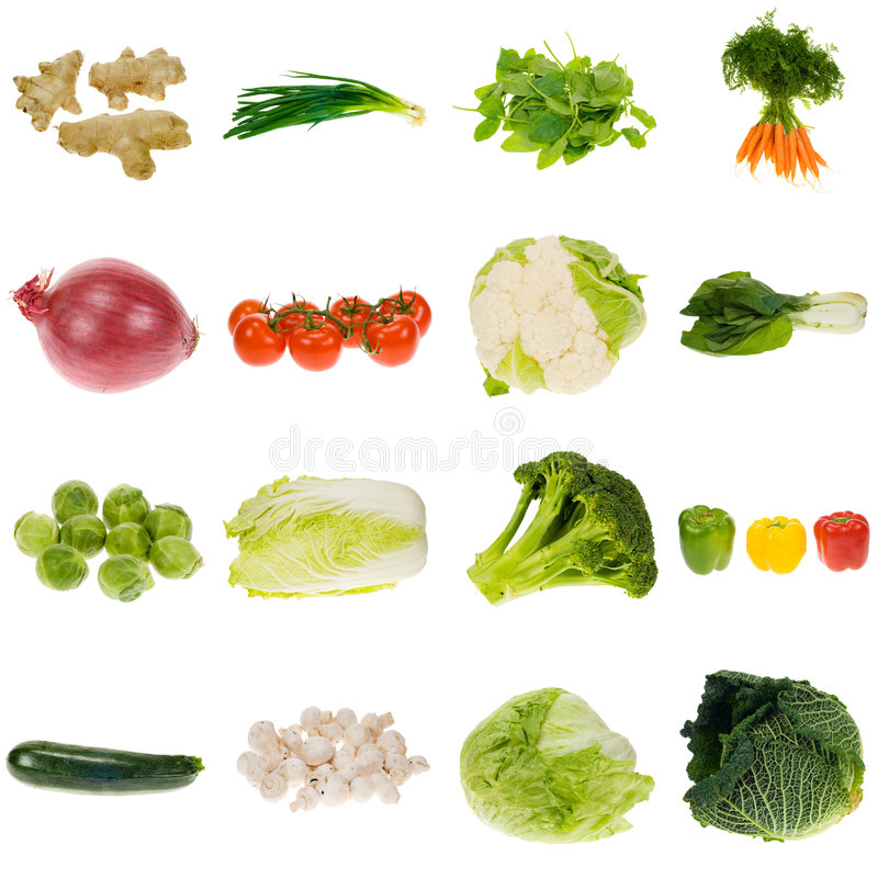 Vegetable collection. Isolated on a white background, all pieces individually photographed in studio and no shade so its easy to select stock image