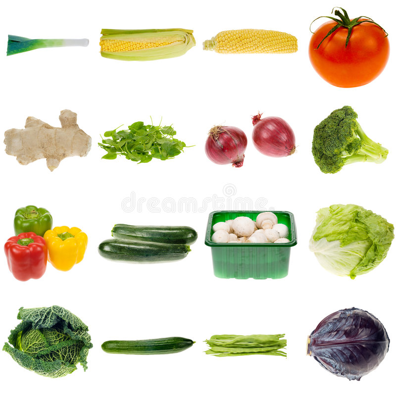 Vegetable collection. Isolated on a white background, all pieces individually photographed in studio and no shade so its easy to select royalty free stock photo