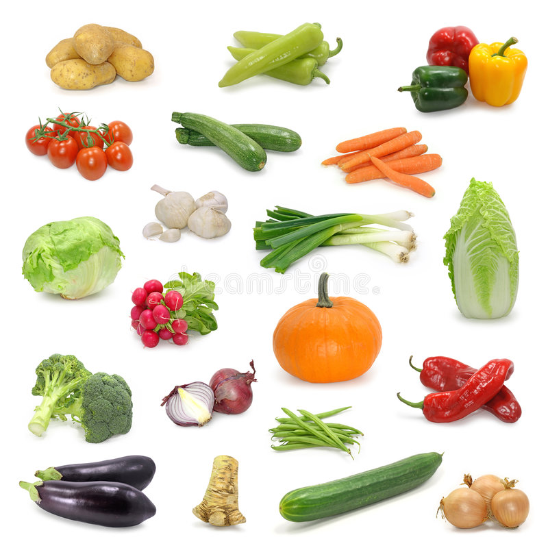 Vegetable collection. Isolated on a white