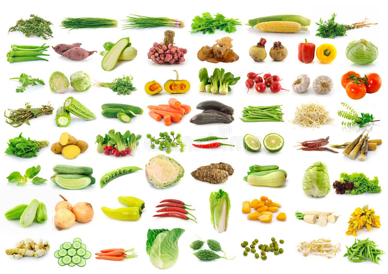 Vegetable collection isolated on a white. Background stock images