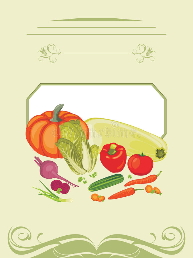 Vegetable cooking. Label for design stock image