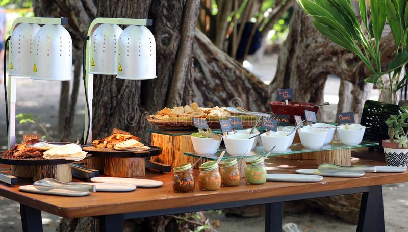 Vegetable corn grill at beach barbecue in tropical paradise Costa Rica stock photos