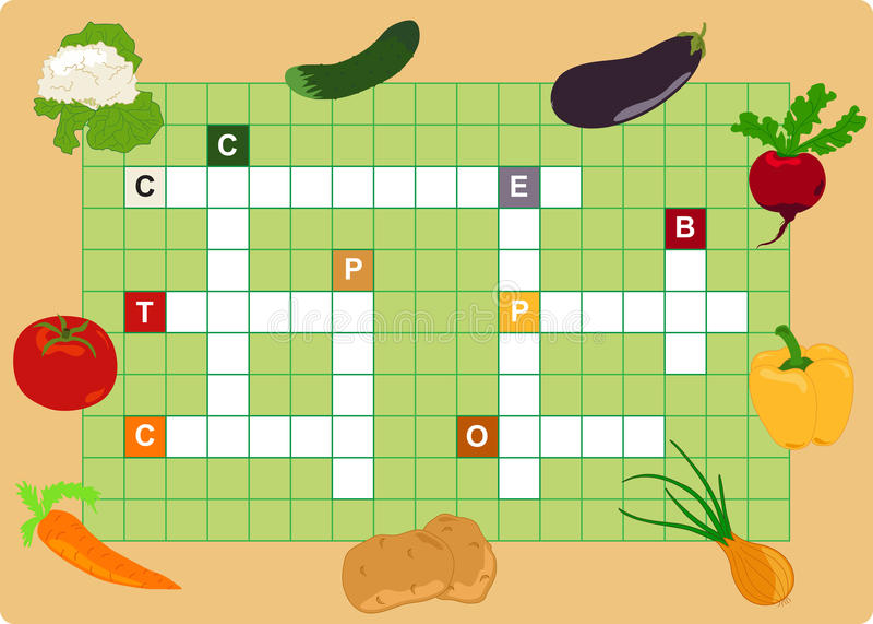 Download Vegetable crossword stock vector. Illustration of color - 23419287