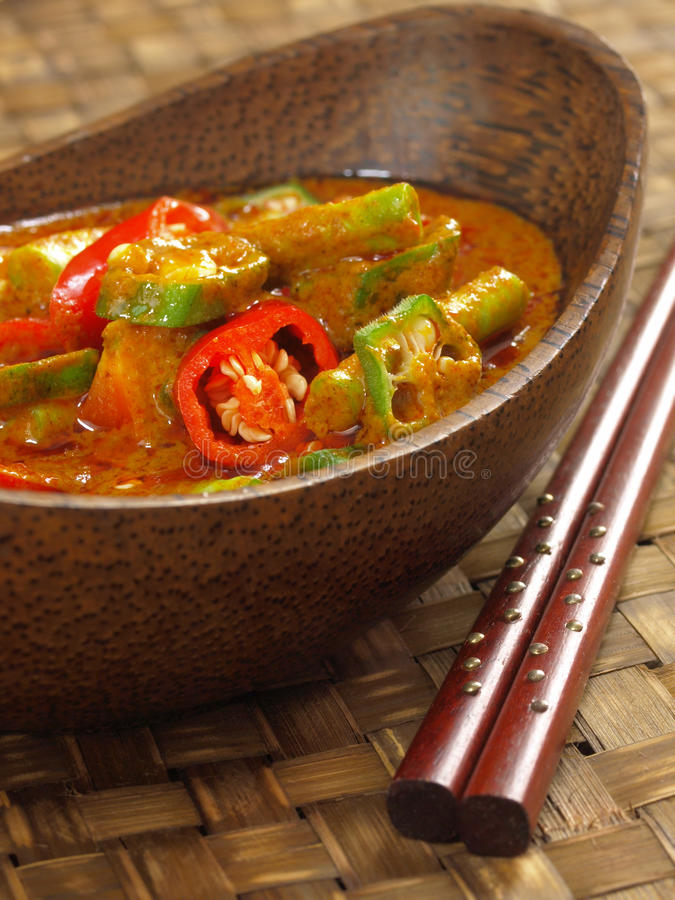 Vegetable curry. Hot and spicy asian vegetable curry royalty free stock images