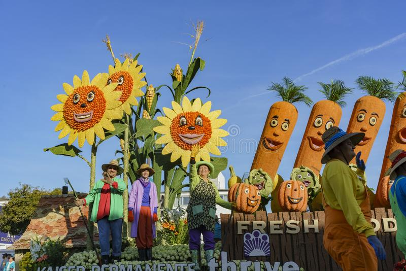Vegetable, farm style float in the famous Rose Parade. Pasadena, JAN 1: Vegetable, farm style float in the famous Rose Parade - America's New Year Celebration on stock image