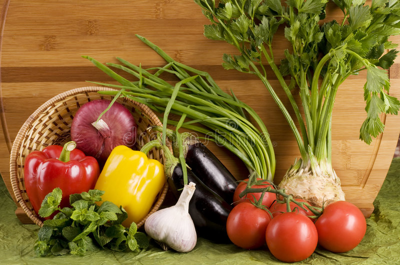 Vegetable food over wood stock photography