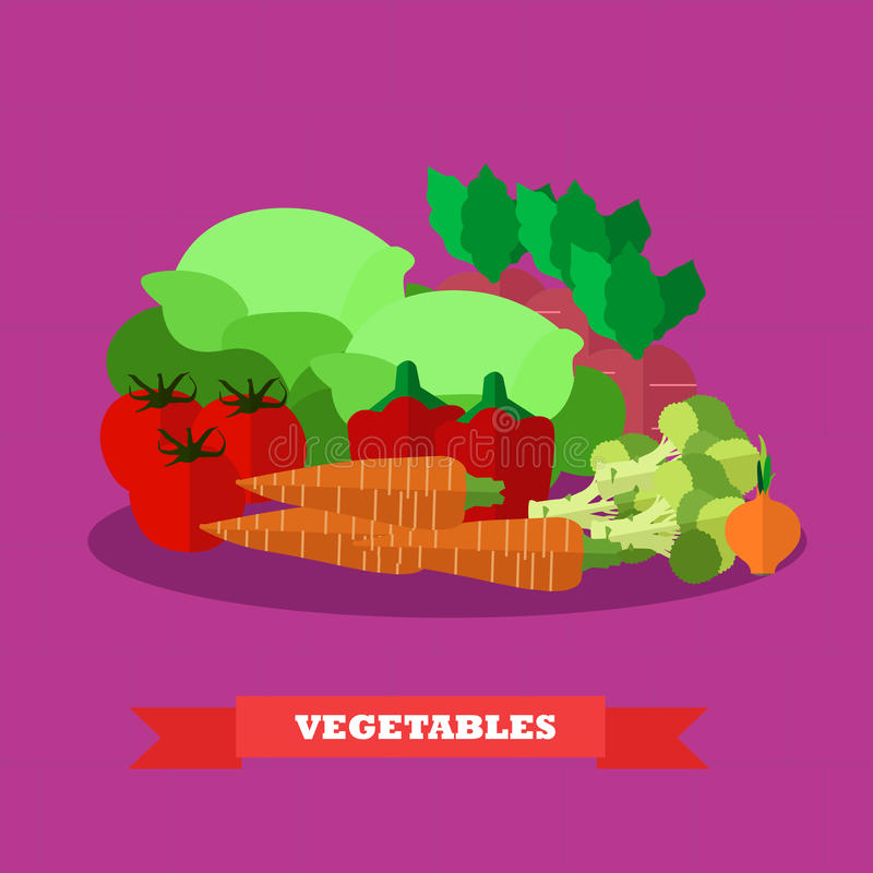 Vegetable food products vector illustration in flat style design. Healthy concept poster vector illustration