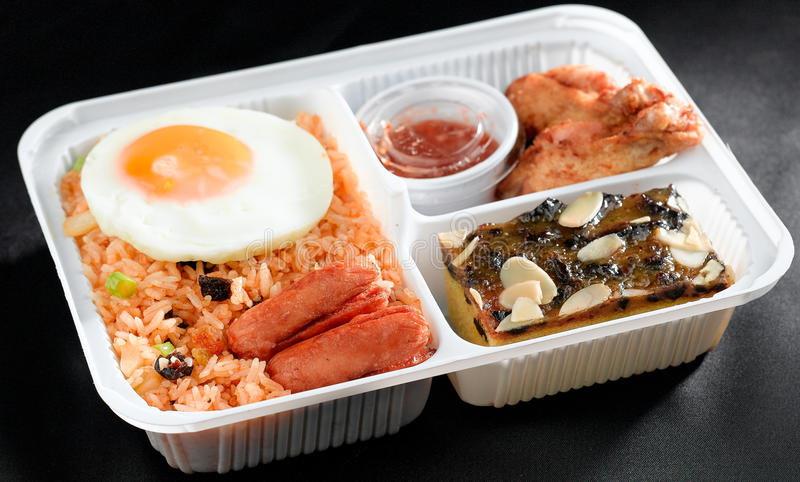 Download Fried Rice With Sausages In Lunchbox Stock Photo - Image: 19605190