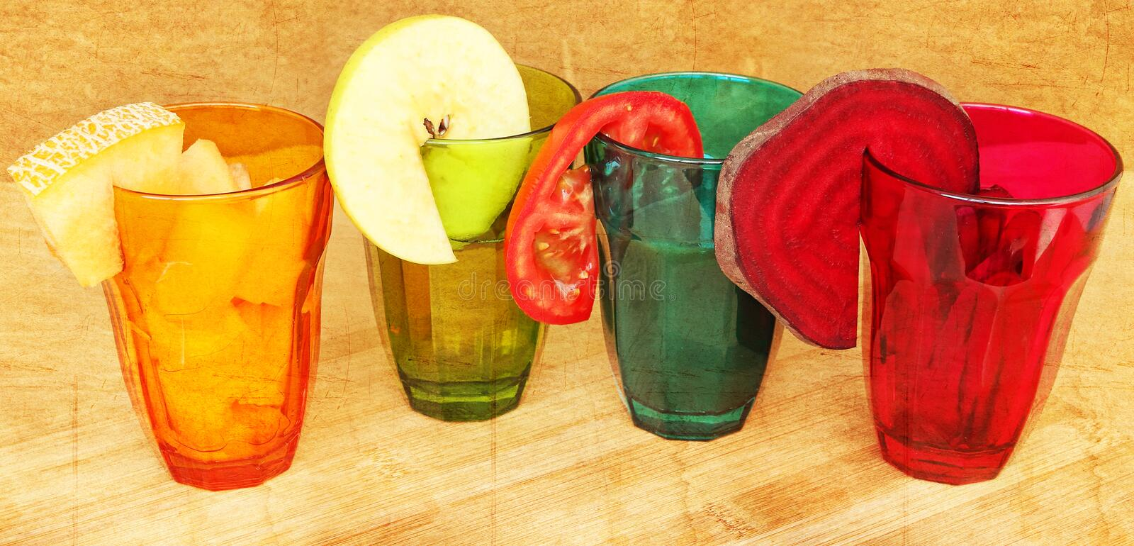 Vegetable and fruit for fresh juice and salads. stock images