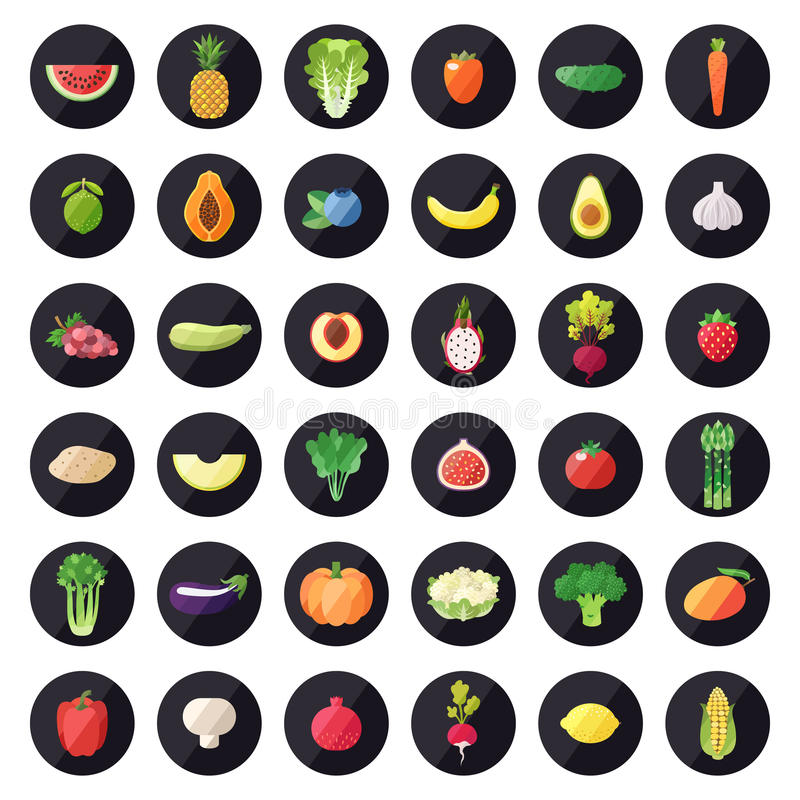 Vegetable and fruit icons vector set. Modern flat design. Multicolored. stock photo