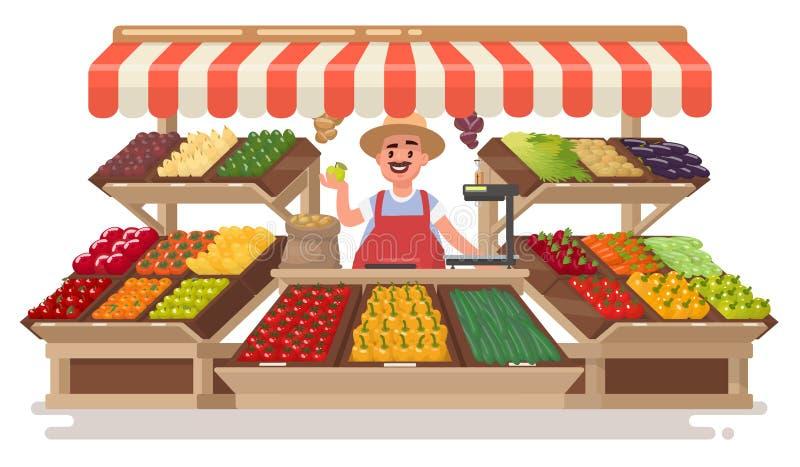 Vegetable Fruit local Shop. Happy Farmer sells fresh natural pr stock illustration