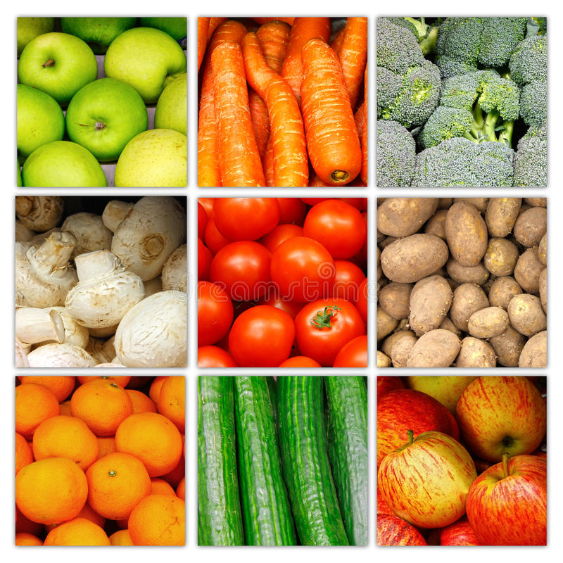Free Vegetable Fruit Nutrition Collage Stock Photography - 22710762