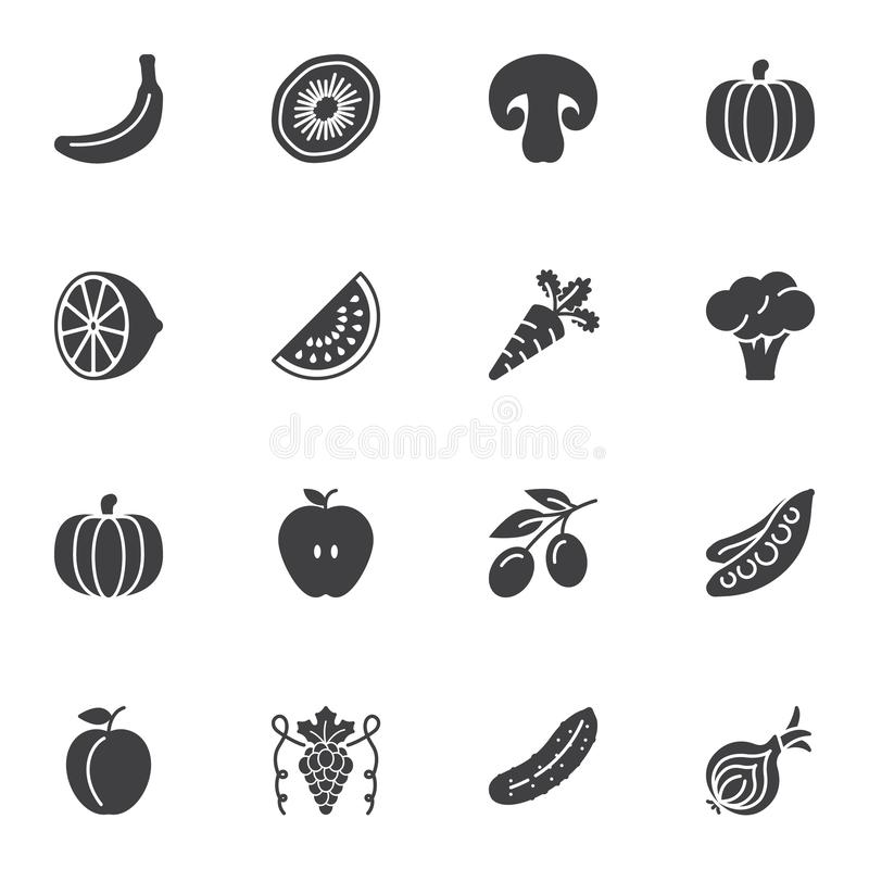 Vegetable and fruit vector icons set vector illustration