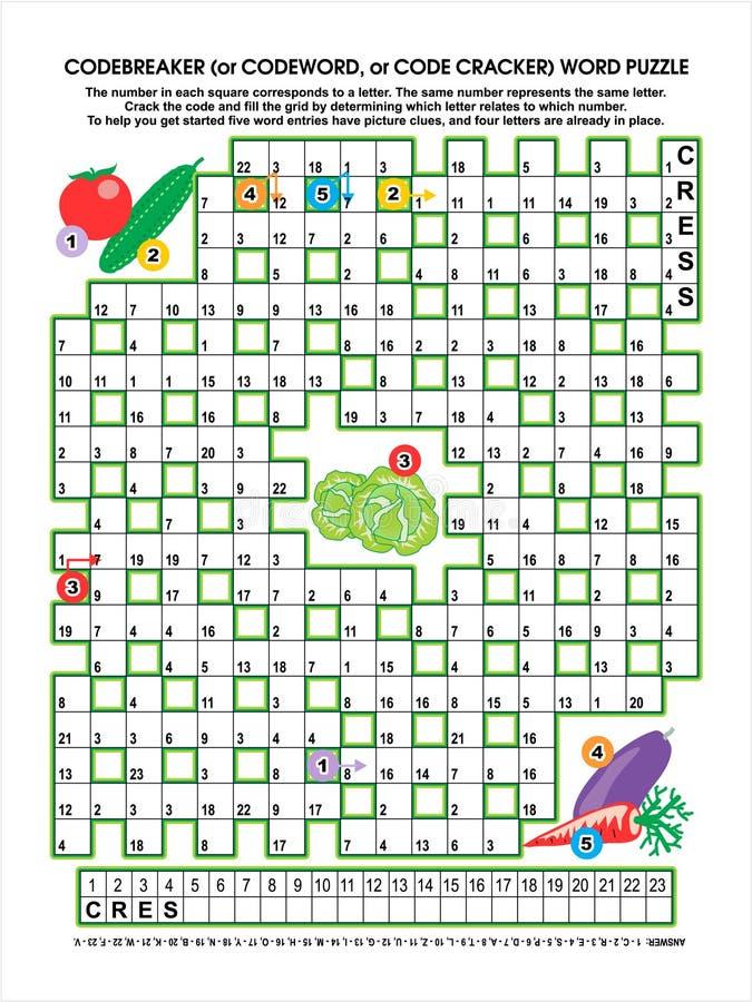 Download Vegetable Garden Codebreaker Word Puzzle Stock Vector - Illustration: 24475456