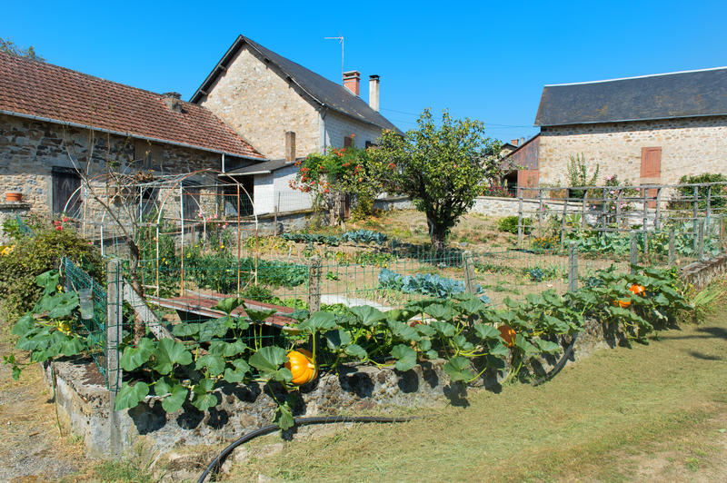 Vegetable Garden In French Hamlet Stock Photo - Image of food ...