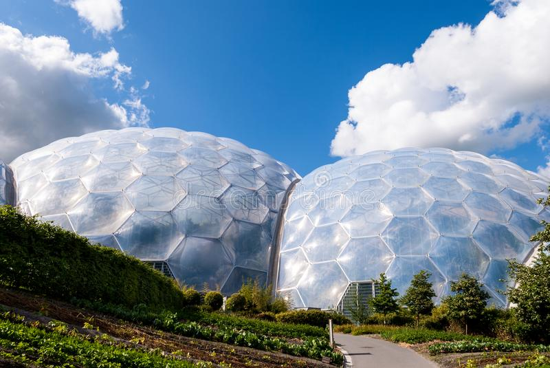 Vegetable garden outside geodesic biome domes at the Eden Project. stock photo