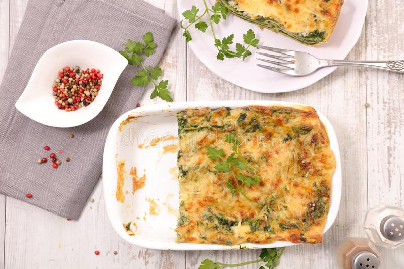 Vegetable gratin, spinach and cheese lasagne stock image