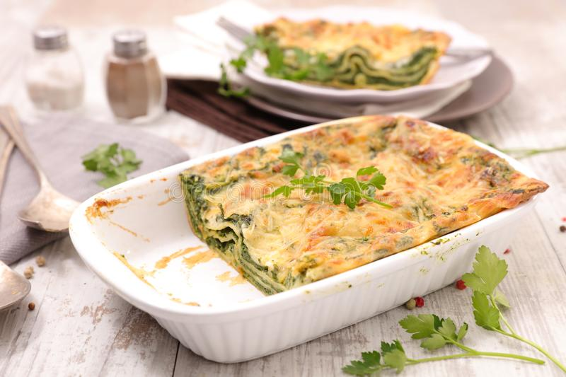 Vegetable gratin, spinach and cheese lasagne royalty free stock photography