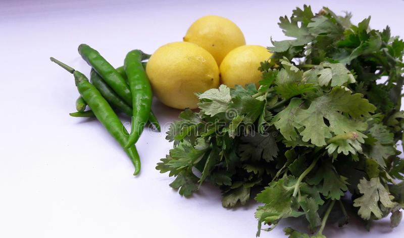 vegetable green chili lemon and coriander leafs isolated on white backgroynd royalty free stock image