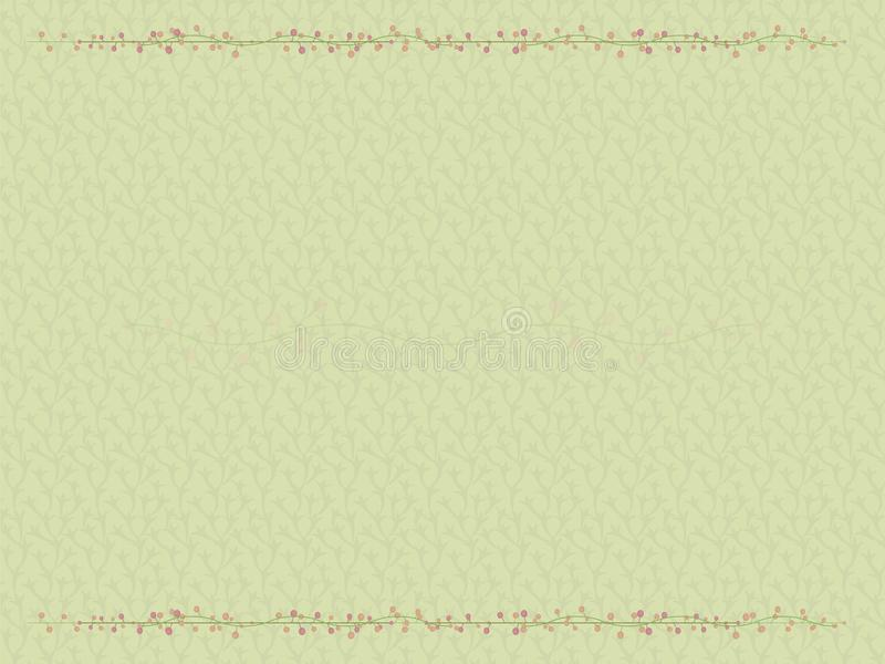 Vegetable green light background with a border of interwoven loaches of graceful flower branches with light peach and pink two-col. Vegetable green light vector illustration