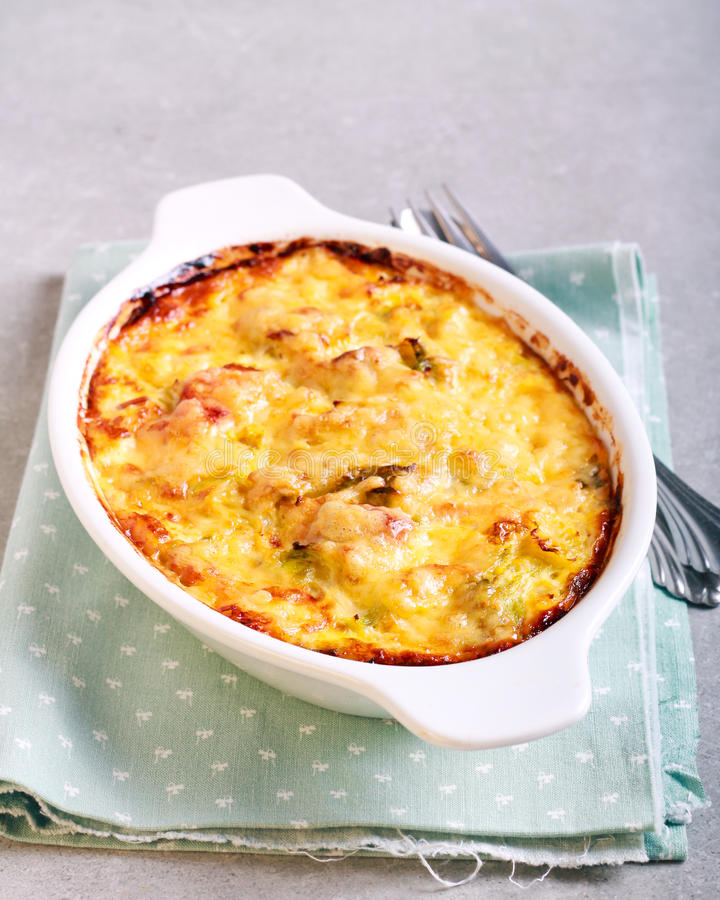 Vegetable and ham bake royalty free stock photos