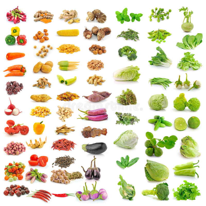 Vegetable, herb, spices isolated on white background royalty free stock photos