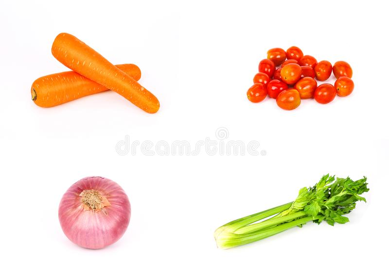 Vegetable with high nutritional value. Such as carrots, tomatoes, celery, and onion, shown in set of four, isolated on white background royalty free stock image