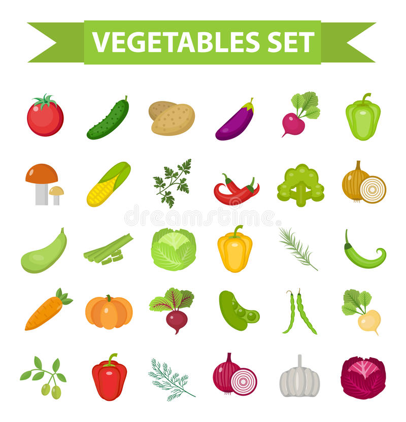 Vegetable icon set, flat, cartoon style. Fresh vegetables and herbs isolated on white background. Farm products. Vegetarian food. Cabbage, beets, peppers royalty free illustration