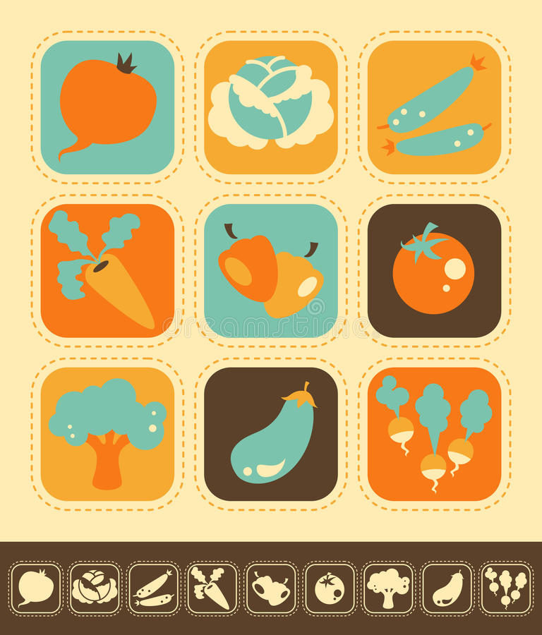 Download Vegetable Icon Set stock vector. Image of buttons, agriculture - 31728776