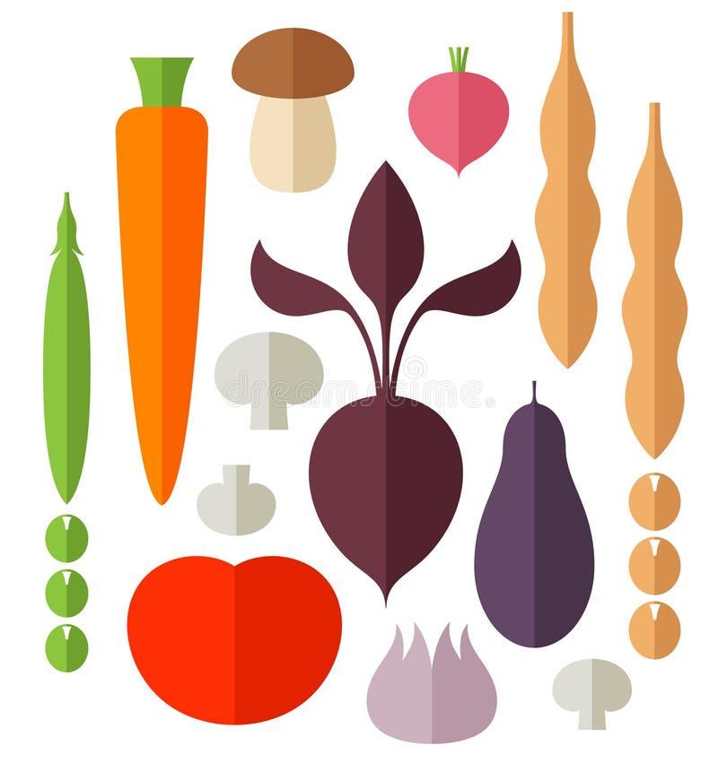 Vegetable. Icon Set. Isolated objects on white background. Vector illustration (EPS 10) stock illustration
