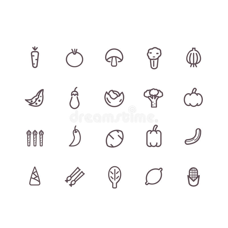 Vegetable icon. Set vector. line icons stock illustration