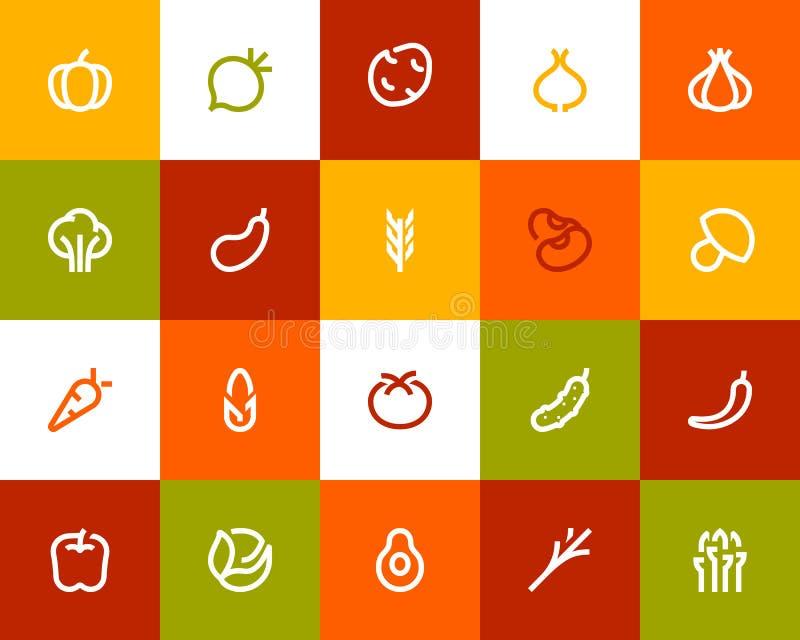 Vegetable icons. Flat style. Vegetable icons set. Flat style royalty free illustration