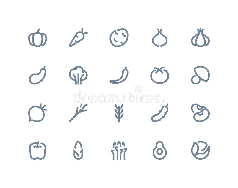 Vegetable icons. Line series. Vegetable icons set. Line series vector illustration