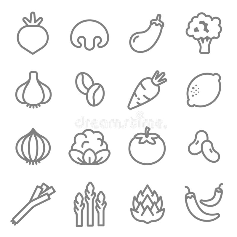 Vegetable ingredients line icon vector set. Including Carrot, Tomato, Chilies, Asparagus, Artichokes, Onion, Radish and more stock illustration