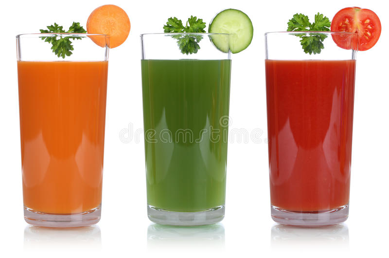 Vegetable juice like carrot juice and tomato juice isolated. Vegetable like carrot juice and tomato juice, isolated on a white background stock photos