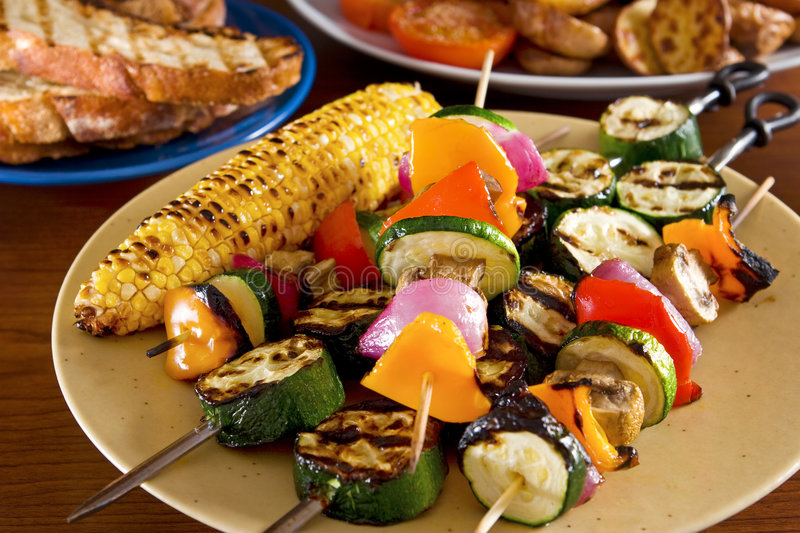Vegetable kebabs royalty free stock photography