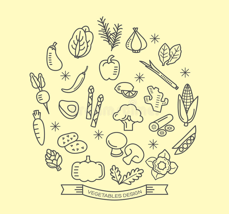 Vegetable line icons with outline style design elements. Vegetable line icons with outline style vector design elements royalty free illustration