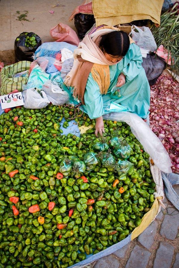 Vegetable market, Bolivia royalty free stock photography