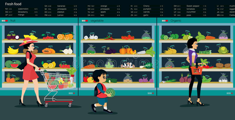 Vegetable market. Fresh vegetables and fruits are sold in supermarkets royalty free illustration