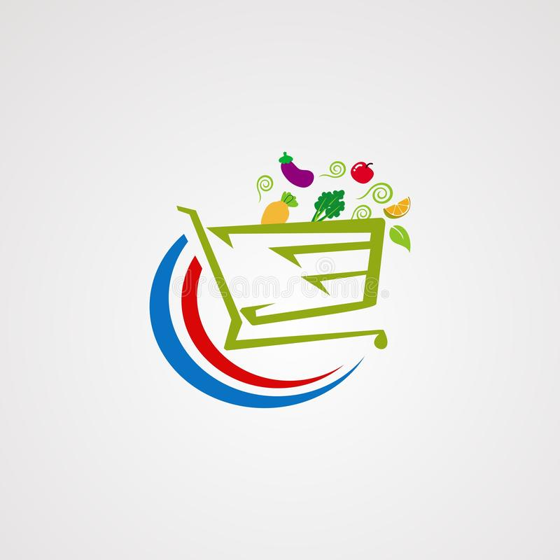 Vegetable market logo vector, icon, element, and template for company royalty free illustration