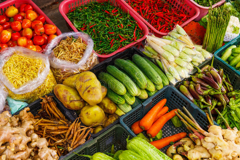 Vegetable In Market Stall Royalty Free Stock Photo